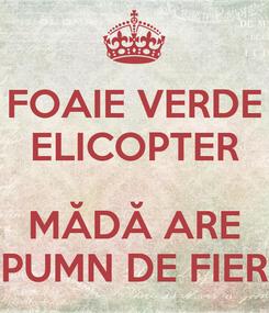 Poster: FOAIE VERDE ELICOPTER  MĂDĂ ARE PUMN DE FIER