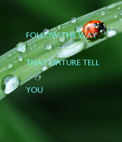 Poster: FOLLOW THE WAY   THAT NATURE TELL   YOU