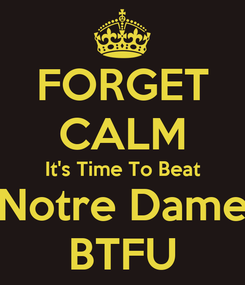 Poster: FORGET CALM It's Time To Beat Notre Dame BTFU