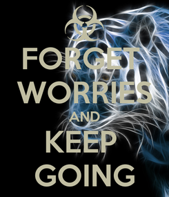 Poster: FORGET  WORRIES AND KEEP  GOING
