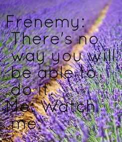Poster: Frenemy:  There's no  way you will  be able to  do it. Me: Watch  me.