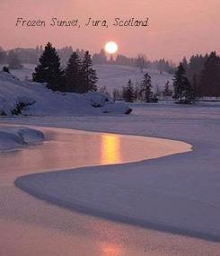 Poster: Frozen Sunset, Jura, Scotland.