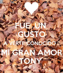 Poster: FUE  UN  GUSTO A VERTE CONOCIDO ♥ MI GRAN AMOR TONY