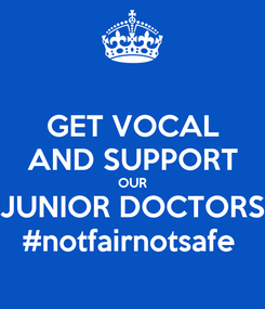 Poster: GET VOCAL AND SUPPORT OUR JUNIOR DOCTORS #notfairnotsafe