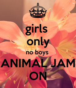 Poster: girls  only no boys  ANIMAL JAM ON