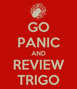 Poster: GO PANIC AND REVIEW TRIGO