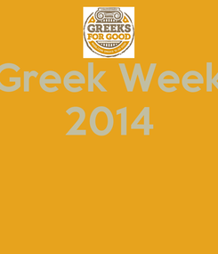 Poster: Greek Week 2014