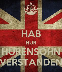 Poster:  HAB NUR HURENSOHN VERSTANDEN