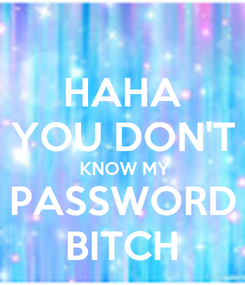 Poster: HAHA YOU DON'T  KNOW MY PASSWORD BITCH