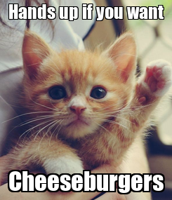 Poster: Hands up if you want Cheeseburgers