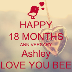 Poster: HAPPY 18 MONTHS ANNIVERSARY Ashley LOVE YOU BEE