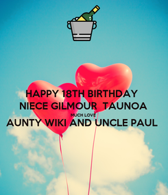 Poster: HAPPY 18TH BIRTHDAY  NIECE GILMOUR  TAUNOA MUCH LOVE AUNTY WIKI AND UNCLE PAUL