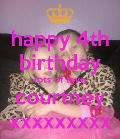 Poster: happy 4th birthday lots of love courtney xxxxxxxxx