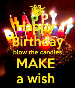 Poster: Happy  Birthday blow the candles MAKE  a wish