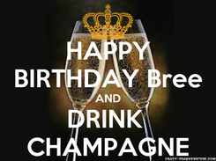 Poster: HAPPY BIRTHDAY Bree AND DRINK  CHAMPAGNE