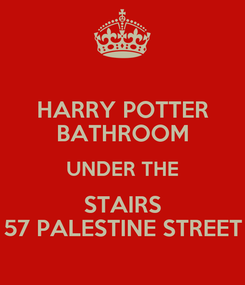 Poster: HARRY POTTER BATHROOM UNDER THE STAIRS 57 PALESTINE STREET
