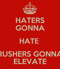 Poster: HATERS GONNA HATE  RUSHERS GONNA ELEVATE
