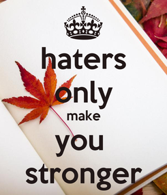 Poster: haters only make you  stronger