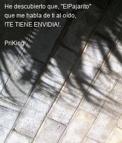 """Poster: He descubierto que, """"ElPajarito"""" que me habla de ti al oído, !TE TIENE ENVIDIA!.  PriKing"""