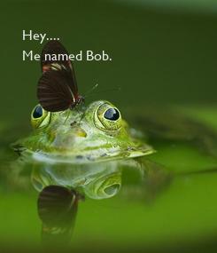 Poster: Hey.... Me named Bob.