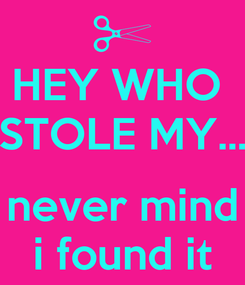 Poster: HEY WHO  STOLE MY...  never mind i found it