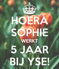 Poster: HOERA SOPHIE WERKT 5 JAAR BIJ YSE!