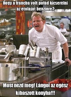 Poster: Hogy a francba volt pofád kicserélni az étolajat benzinre? Most nézd meg! Lángol az egész kibaszott konyha!!!