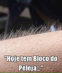 """Poster:  """"Hoje tem Bloco do Peleja..."""""""