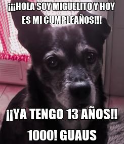 Poster: ¡¡¡HOLA SOY MIGUELITO Y HOY ES MI CUMPLEAÑOS!!! ¡¡YA TENGO 13 AÑOS!! 1000! GUAUS