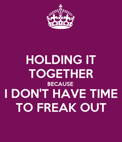 Poster: HOLDING IT TOGETHER BECAUSE  I DON'T HAVE TIME TO FREAK OUT