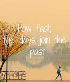 Poster: How fast, the days join the  past