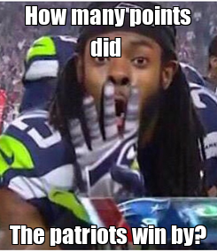 Poster: How many points did  The patriots win by?