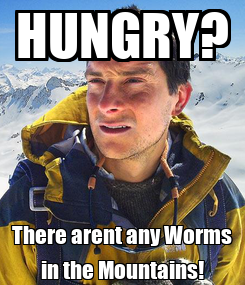 Poster: HUNGRY? There arent any Worms in the Mountains!