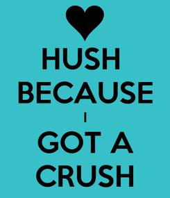 Poster: HUSH  BECAUSE I GOT A CRUSH