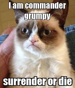 Poster: I am commander grumpy surrender or die