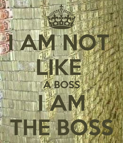 Poster: I AM NOT  LIKE  A BOSS I AM THE BOSS