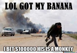 Poster:  I BET $100000 HIS IS A MONKEY