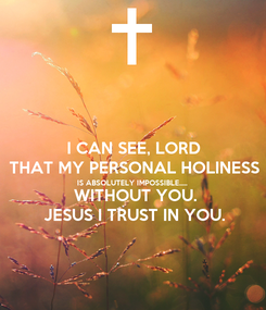 Poster: I CAN SEE, LORD THAT MY PERSONAL HOLINESS IS ABSOLUTELY IMPOSSIBLE.....  WITHOUT YOU. JESUS I TRUST IN YOU.
