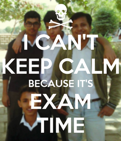 Poster: I CAN'T KEEP CALM BECAUSE IT'S EXAM TIME