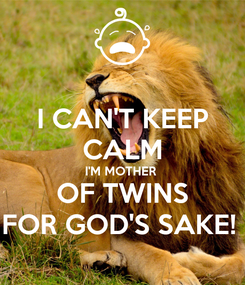 Poster: I CAN'T KEEP CALM I'M MOTHER  OF TWINS FOR GOD'S SAKE!