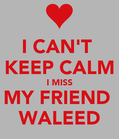 Poster: I CAN'T  KEEP CALM I MISS MY FRIEND  WALEED