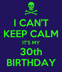 Poster: I CAN'T KEEP CALM IT'S MY 30th BIRTHDAY