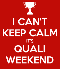 Poster: I CAN'T KEEP CALM IT'S QUALI WEEKEND