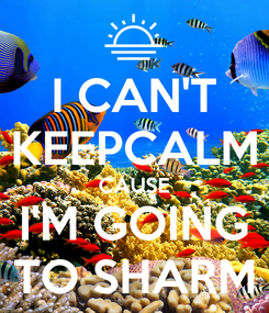 Poster: I CAN'T KEEPCALM CAUSE I'M GOING TO SHARM