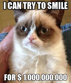 Poster: I CAN TRY TO SMILE FOR $ 1.000.000.000