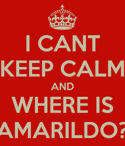Poster: I CANT KEEP CALM AND WHERE IS AMARILDO?
