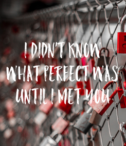 Poster: I didn't know what perfect was until I met you
