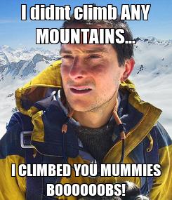 Poster: I didnt climb ANY MOUNTAINS... I CLIMBED YOU MUMMIES BOOOOOOBS!