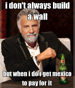 Poster: i don't always build a wall but when i do i get mexico to pay for it