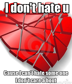 Poster:  I don't hate u Cause I can't hate some one I don't care a bout